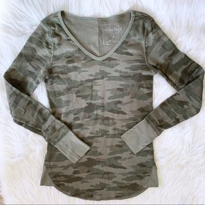 We the Free People Camo Waffle Knit Thermal Top
